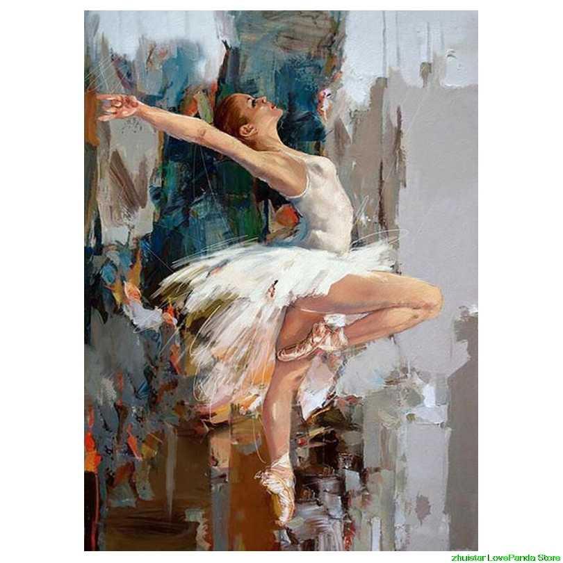 Diamond Bordir Penari Balet Menjahit Lukisan Mosaik Gambar Rhinestones Cross-Stitch Hobi dan Kerajinan Tangan