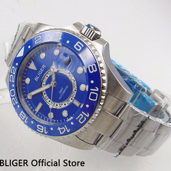 Classic BLIGER 43MM Blue Dial Ceramic Bezel GMT Function Luminous Marks Sapphire Crystal Automatic Movement Men's Wrist Watch