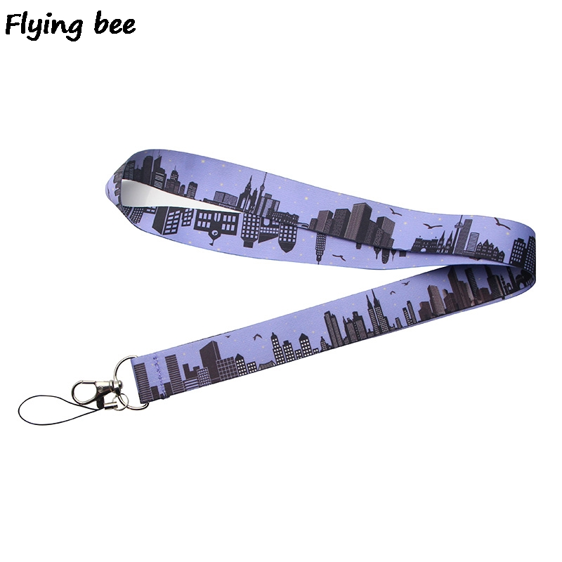 Flyingbee High-rise Buildings Keychain Lanyard Badge Lanyards Mobile Phone Rope Keyring Key Lanyard Neck Strap Accessories X0253