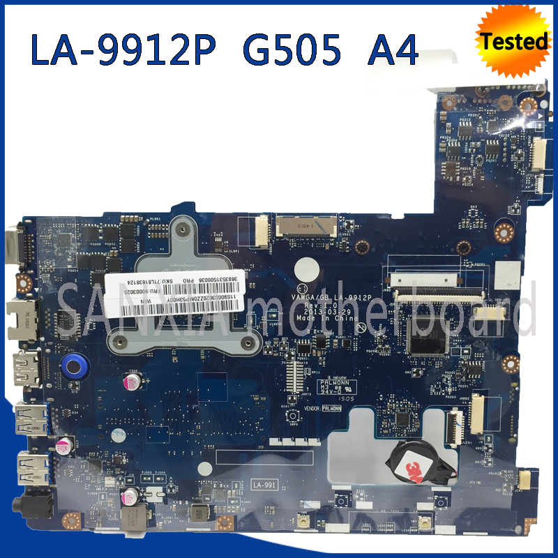 SHELI LA-9912P motherboard for Lenovo G505 laptop motherboard original tested mainboard VAGWA / GB LA-9912P A4 CPU motherboard sheli aclu1 aclu2 nm a272 laptop motherboard for lenovo g50 70 motherboard nm a272 motherboard i3 cpu tested original notebook