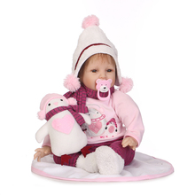 22 inch 55cm NPK Doll Winter Pink Realistic Silicone Reborn Baby Doll Floppy Head Lifelike Newborn Baby Boy Snowman Doll Clothes 50 55cm silicone reborn baby doll top quality handmade soft touch body vinyl realistic baby doll with pink clothes best