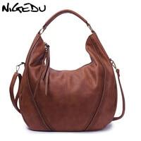 NIGEDU Brand Large Casual Hobos Women Tassel Handbag Pu Leather Women S Shoulder Bag Female Big