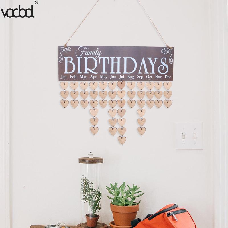 VODOOL DIY Wooden Birthday Wall Calendar Family Friends