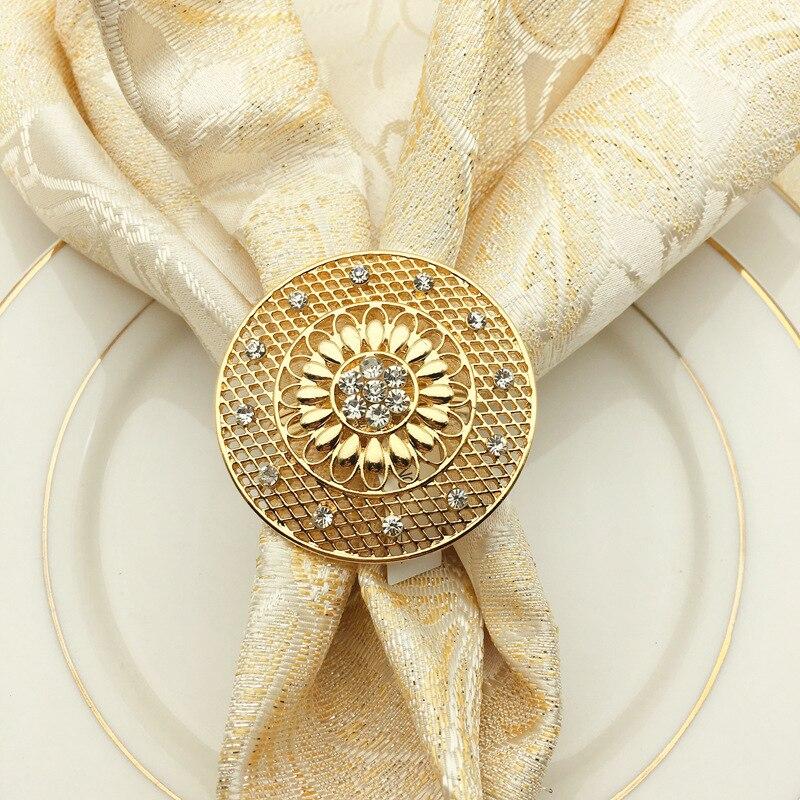 12/шт отель западный ресторан высококлассный сплав инкрустированный алмазами полые салфетки защелки кольцо для салфетки Кольцо