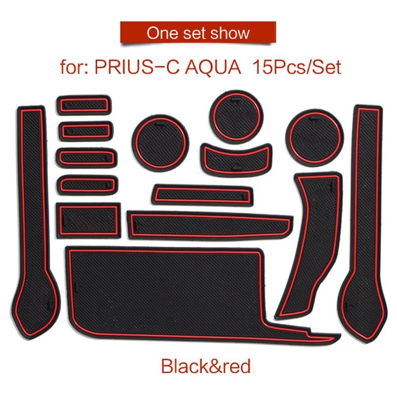 Smabee Gate Slot Pad For For Toyota PRIUS C Aqua 2012 - 2019 Interior Door Pad/Cup Non-slip Mats Red Blue White