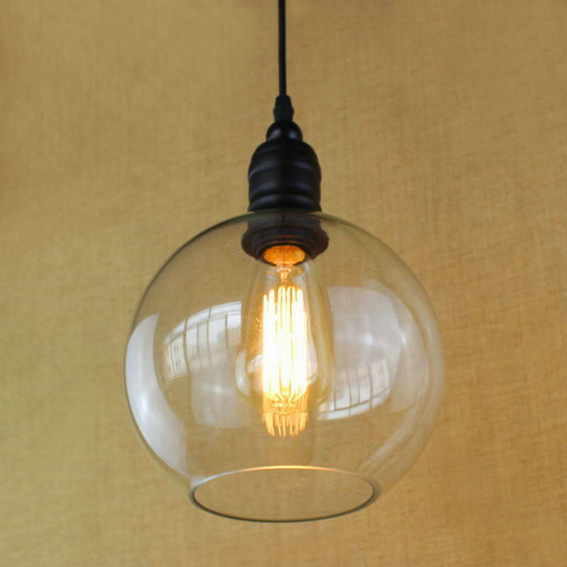 Antique copper hanging clear glass shade pendant lamp with for Glass hanging floor lamp