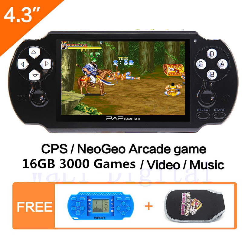 16 GB 4.3 '' Video Game Console 64Bit Handheld Game Console Ներկառուցված 1300/650 խաղեր GBA / CPS / NEOGEO / SNES / SMD / FC / GBC / SMS / GG mp5