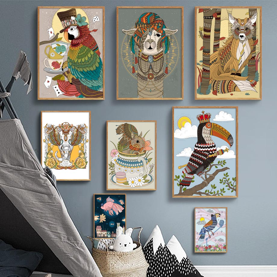 Us 3 38 41 Off Abstract Llama Fox Parrot Toucan Elephant Wall Art Canvas Painting Nordic Posters And Prints Wall Pictures For Living Room Decor In