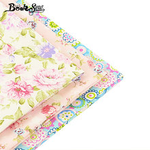 Home Textile Decoration 3 PCS/lot 40cmx50cm Baby Cloth 100% Cotton Fabric Lovely Flower Pattern Fat Quarter Dress Quilting Meter(China)
