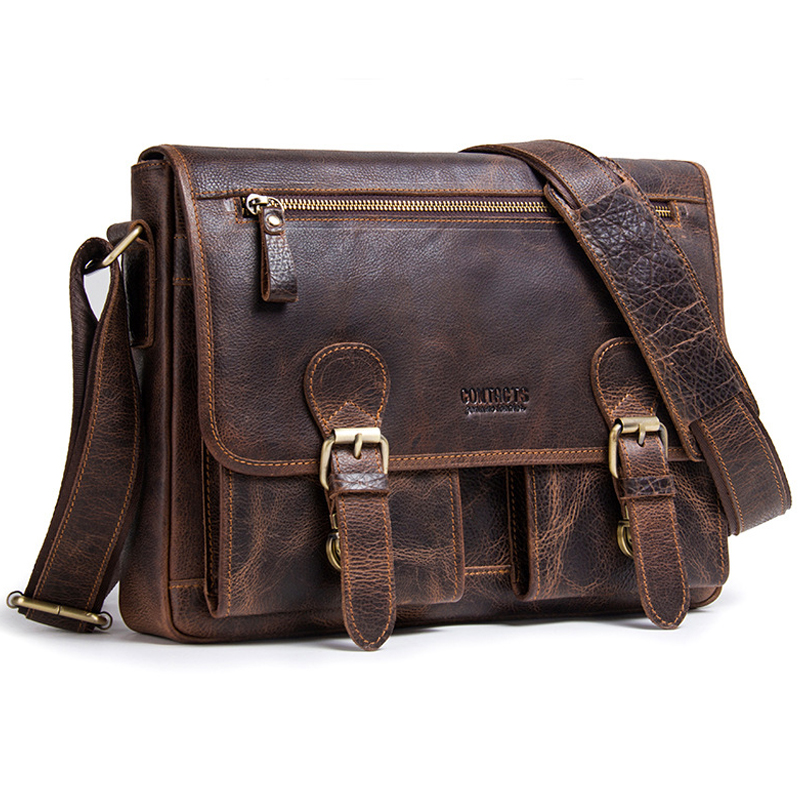 Genuine Leather Men Handbag Man Casual Business Shoulder Crossbody Bags Cowhide Large Capacity Travel Messenger Bag Work Purse