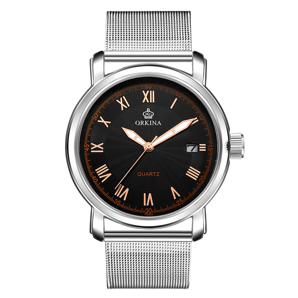 ORKINA New Top Luxury Watch Men Brand Mens Watches Ultra Thin Stainless Steel Mesh Band Quartz Wristwatch Fashion casual watches  bosck top luxury watch men brand men s watches ultra thin stainless steel band quartz wristwatch fashion casual leather watches