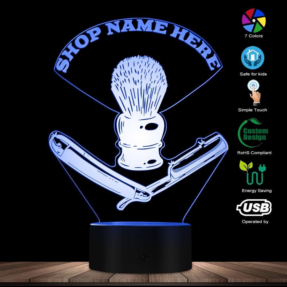 Hairdresser Toolkit Custom USB Night Light Barber Straight Razor LED Illuminated Display Barber Shaving Brush Modern Mood Light