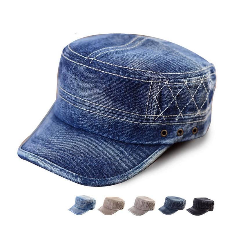 Blue Washed Jeans Denim Stripe Stud Army Brim Flat Hat Cap-in Baseball Caps  from Apparel Accessories on Aliexpress.com  5db8a6108a4