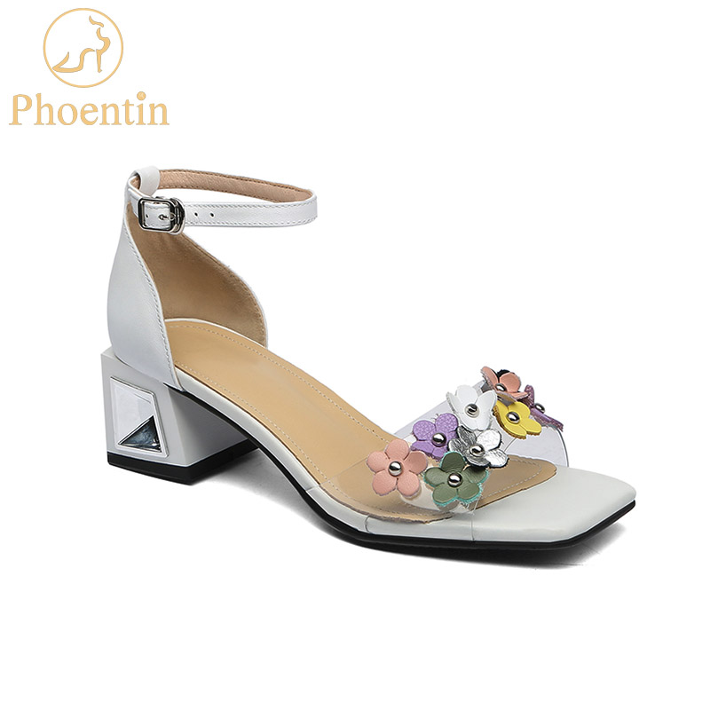 Phoentin transparent pvc sandals flower ankle buckle sandals woman genuine leather square toe med heels white ladies shoes FT654Phoentin transparent pvc sandals flower ankle buckle sandals woman genuine leather square toe med heels white ladies shoes FT654