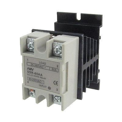 Single Phase Solid State Relay SSR 60A 80-250V AC 24-380V AC w Aluminum heatsink high quality ac ac 80 250v 24 380v 60a 4 screw terminal 1 phase solid state relay w heatsink