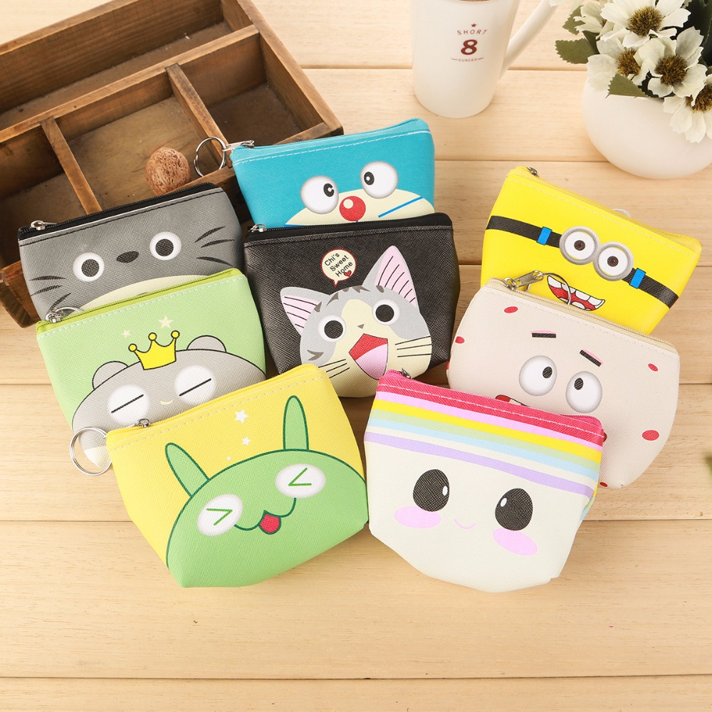 Korean Ladies Cartoon Coin Purse Girls' Cheapest Zipper Coin Wallet Children Cute Animal Mini Key Card Pouch Bag For Kids