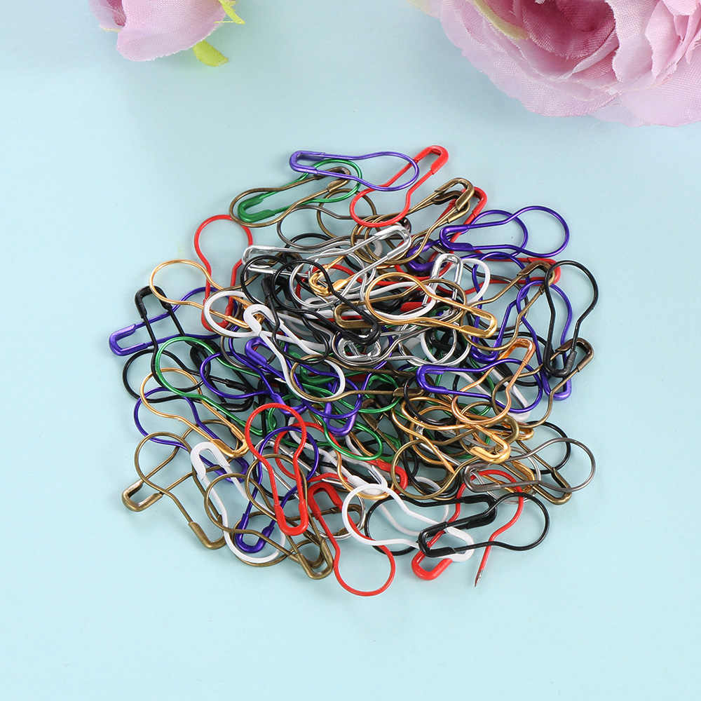 100pcs/lot Stitch Cross Crochet Tool Needle Clip Knitting Craft Copper Knitting Markers Locking Gourd Shape Safety Pins Metal