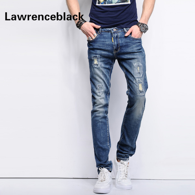 Skinny Jeans Men Stretch Hole Jeans Ripped Jean Famous Brand All-Match Trousers Casual Pants Elastic Stretch Long Pants Men 224 skinny jeans men stretch hole jeans ripped jean famous brand all match trousers casual pants elastic stretch long pants men 224