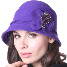 Free Shipping Women Hats Cloche Hats Winter Women Chapeau Bow 100% Wool  Wool Cap Bucket Hats For Winter