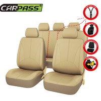 Car Pass PU Leather Auto Seat Covers 3 Color Universal Black Beige Gray Car Seat Covers