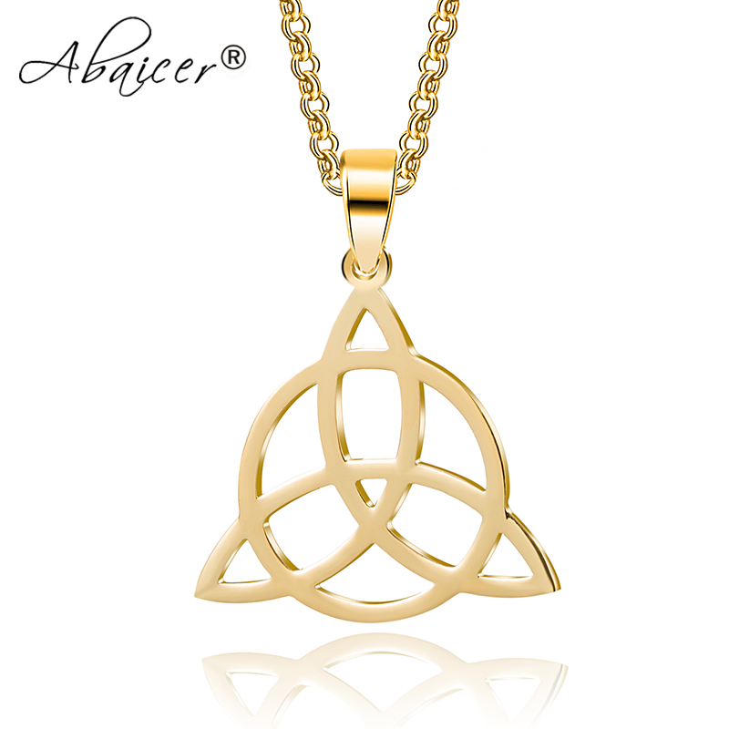 - WICCA Triangle Viking Runes Jewelry Celtic Knots Necklaces & Pendants Triquetra Stainless Steel Men 2 Colors Available