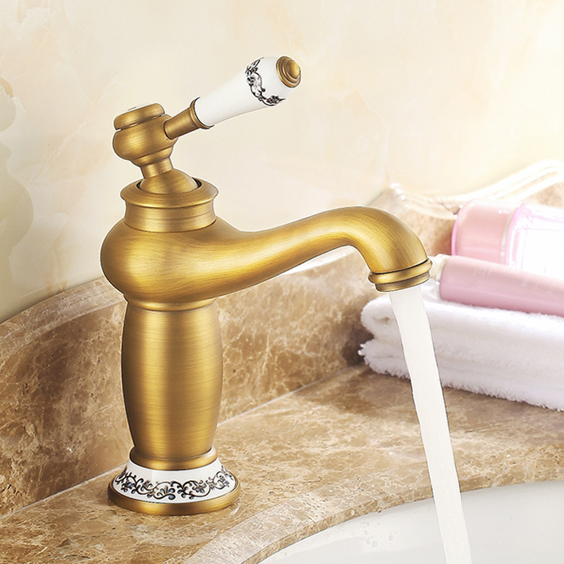 European Antique Kitchen Faucet Brushed Bronze Bathroom Basin Faucet Blue White Porcelain Single Handle Sink Mixer Tap Hot Cold new bathroom antique brass tall single blue and white porcelain handle basin faucet g 902