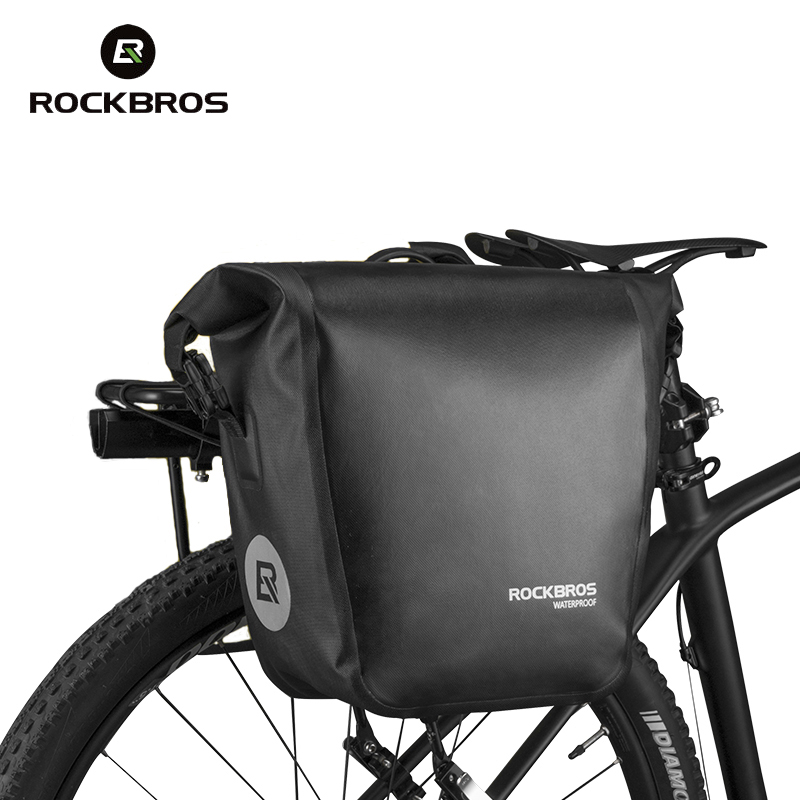 Rockbros Bike Bag 18L Bicycle Rack Bag Full Waterproof Nylon TPU MTB Road Cycling Bag Cycle Rear Seat Bag Accessories Black roswheel mtb bike bag 10l full waterproof bicycle saddle bag mountain bike rear seat bag cycling tail bag bicycle accessories