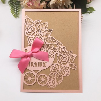 50pcs/lot Free Bowknot Birthday Party Invitations Baby Shower Invitation Card Laser Cut Baby Carriage Pattern Welcome Newborn
