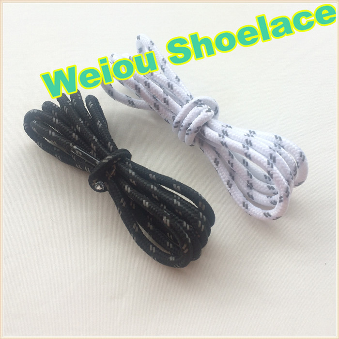 (30pairs/Lot) Weiou reflective shoe laces round 5mm rope shoelaces with plastic shoelace tips wholesale shoe laces