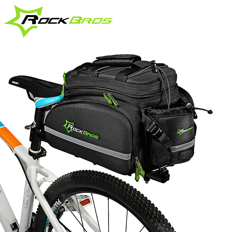 ROCKBROS Multifunctional Bicycle Rear Bag Waterproof Cycling Traveling Bag Portable Reflective MTB Bike Frame Large Capacity Bag rockbros large capacity bicycle camera bag rainproof cycling mtb mountain road bike rear seat travel rack bag bag accessories