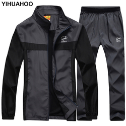 YIHUAHOO ماركة رياضية الرجال سترة السراويل 2 قطعة قطعتين الملابس مجموعة هوديس البلوز بذلة رياضية رياضية الرجال LB8601