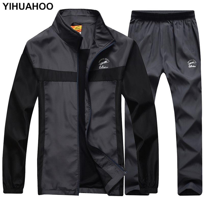 YIHUAHOO Brand Tracksuit Men Jacket+Pants 2PCS Two Piece Clothing Set Casual Hoodies Sweatshirt Track Suit Sport Suit Men LB8601