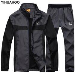 YIHUAHOO Uomini di Marca Tuta Giacca + Pantaloni 2 PCS Due Pezzi di Abbigliamento Set Casual Felpe Felpa Vestito di Pista del Vestito di Sport uomini LB8601