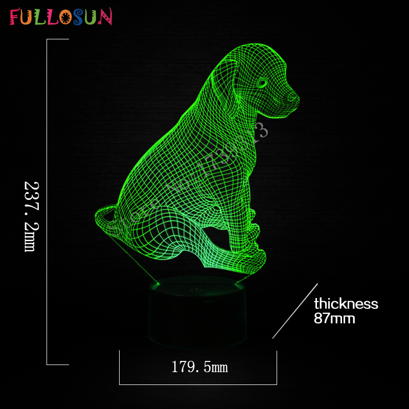 Night Lamp Kids Bedroom Light Dog Mdel 3D Lamp Illusion Table Lamp for Bedroom Decorative Lamp