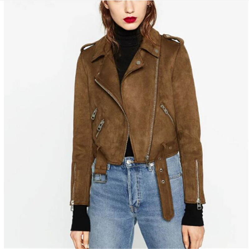 2018 Trendy Long Sleeves   Suede     Leather   Moto Jacket In Brown Color Ladies Fashion Zipper Jacket Spring Autumn