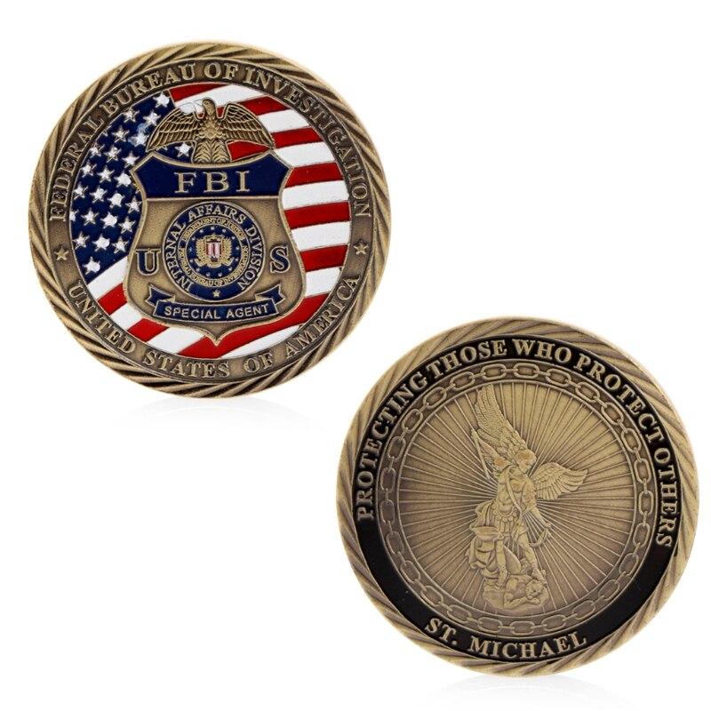 Souvenir Coin US FBI Saint Michael Commemorative Challenge Coins Token Art Collection