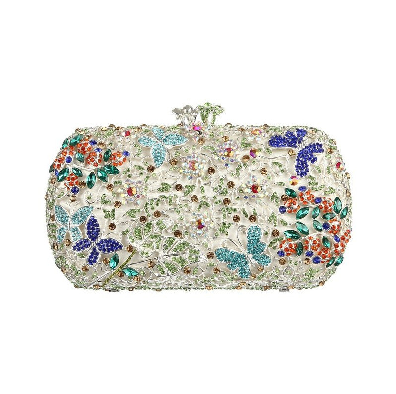 Buy Silver Clutch Bag UK With Shoulder Chain Floral Rhinestone Crystal Evening Bags With ...