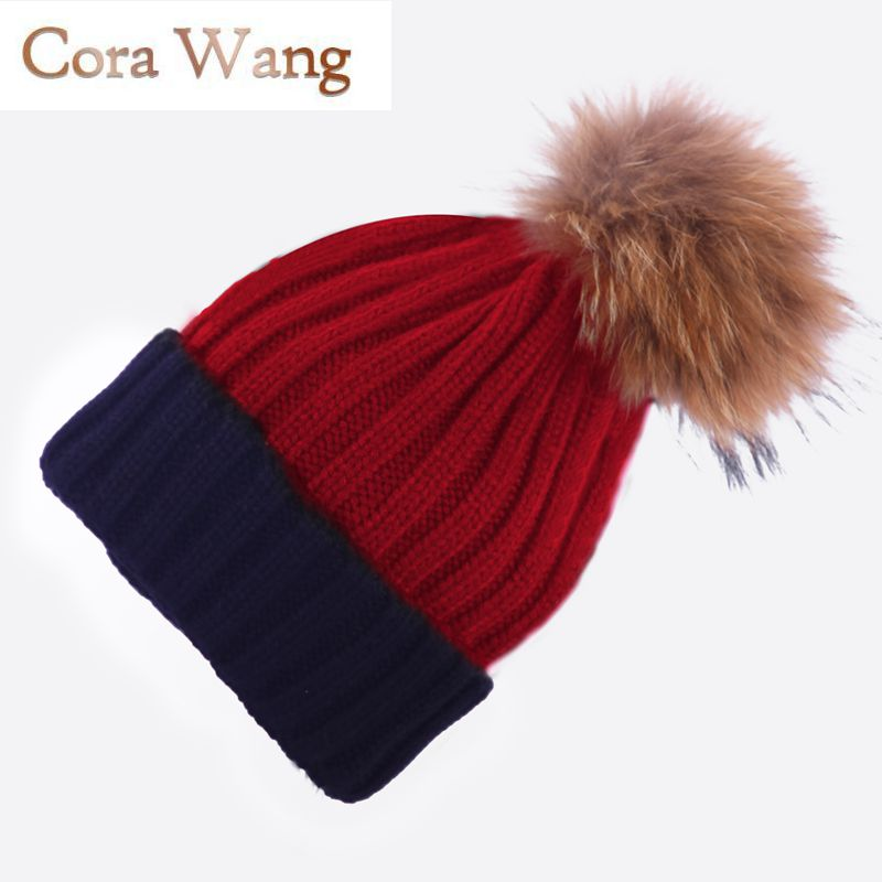 Cora Wang  Real Fur Winter Hat Raccoon Pom Pom Hat For Women Brand Thick Women Hat Girls Caps Knitted Beanies Cap Wholesale 2017 1 6 years real fur winter hat raccoon pom pom hat for children baby thick boys hat girls pink caps knitted beanies cap