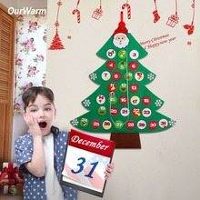 OurWarm Felt Christmas Tree Advent Calendar 95cm*80cm Home Decoration Countdown DIY Santa Claus Childrens Gifts