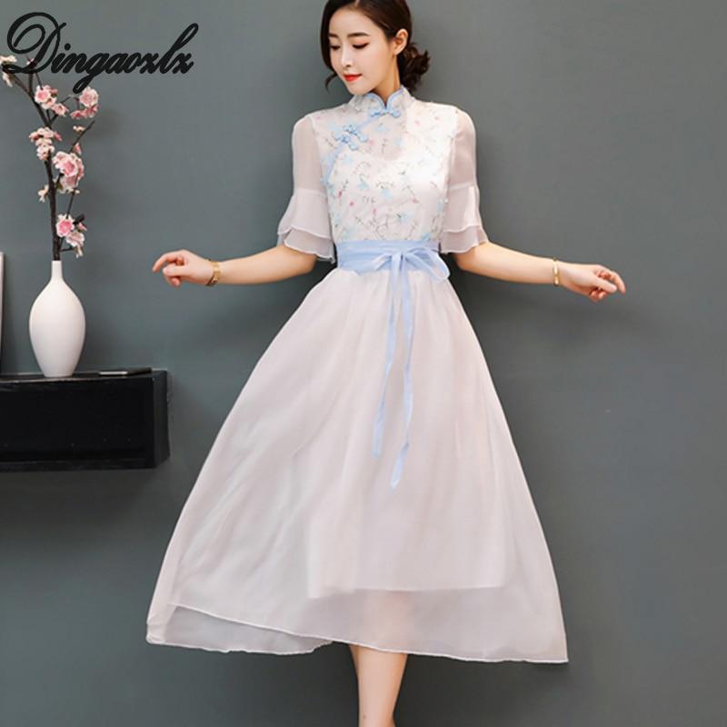 Dingaozlz fashion short sleeve ruffle lace dress Vestidos Improved Cheongsam chiffon dress elegant female casual dress