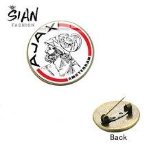 SIAN бренд Ajax футбольный клуб коллекция Брошь Кнопка значок футбольные лиги команда стекло кабошон металлические украшения булавки болельщики подарок