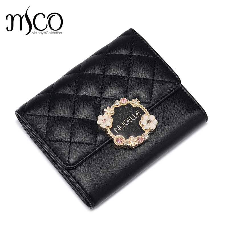 Nucelle Classic Women Short Travel Female Diamond Lattice Wallets Ladies Coin Purse for Women Leather Phone Clutch Card Holder
