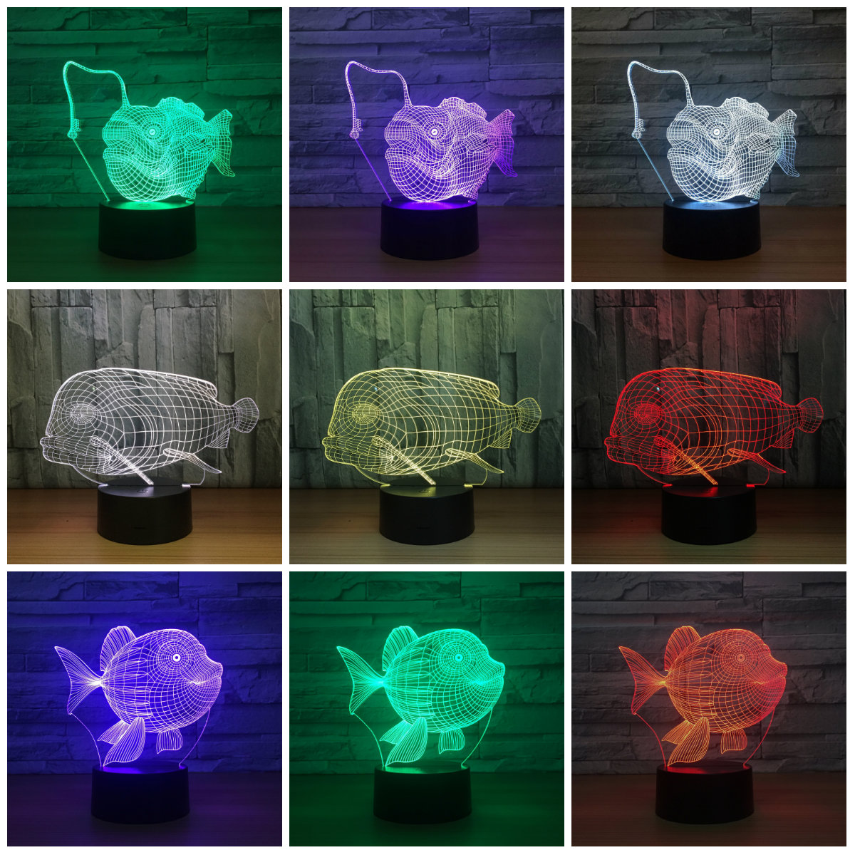 Creative Shark Fish Lovely Night Light 3D Lights Children Decorate - Night Lights - Photo 2