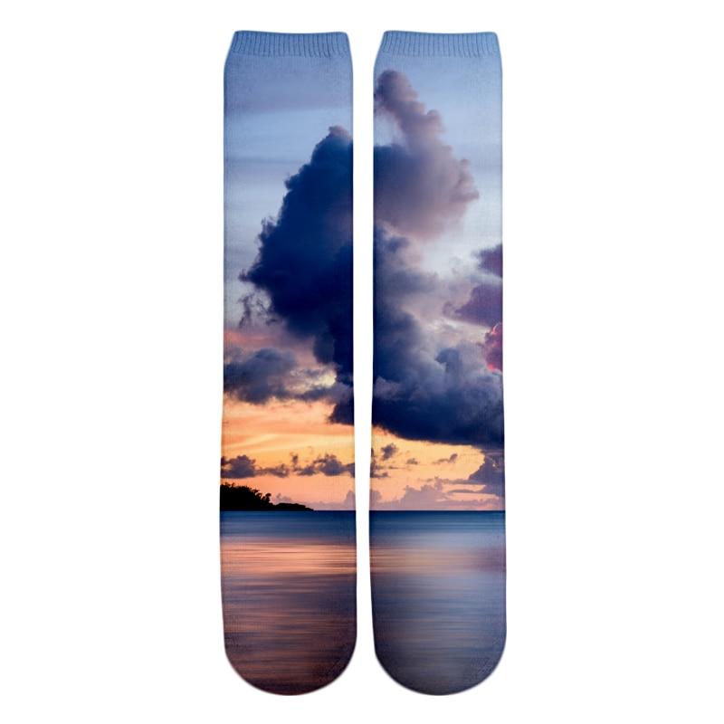 PLstar Cosmos 2018 New style Fashion Knee High Socks pinkish sunset / sunset clouds guam Nature Print 3d Men's Women's Sock 2