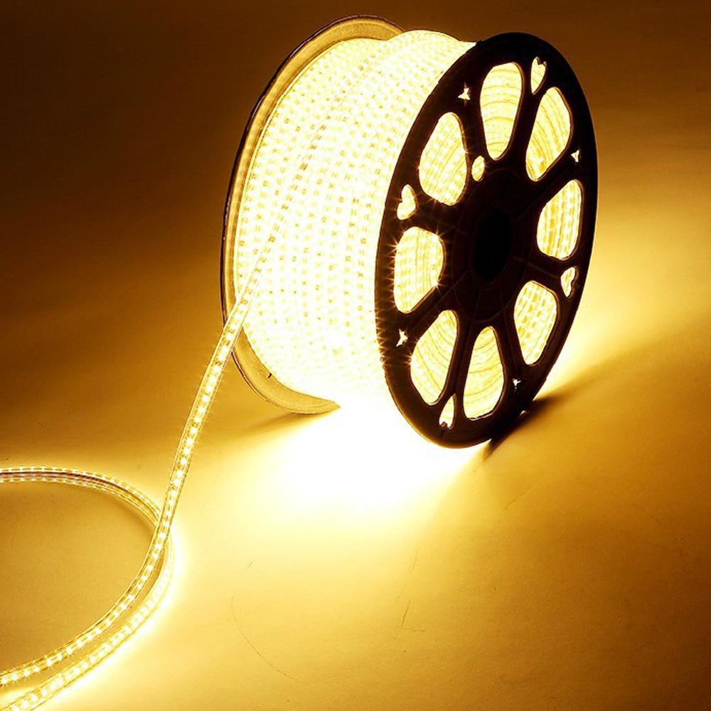 Waterproof LED Strip 5050 220V-240V IP65 Flexible LED Light EU Power Plug Tape Lamp Outdoor Indoor String 1M TO 25M 60LEDs/M