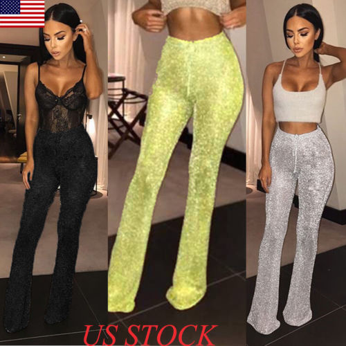 New Women Bell Bottom Long Pants Solid Elastic Waist Sequin High Waisted Clubwear Party Knit Casual Trousers