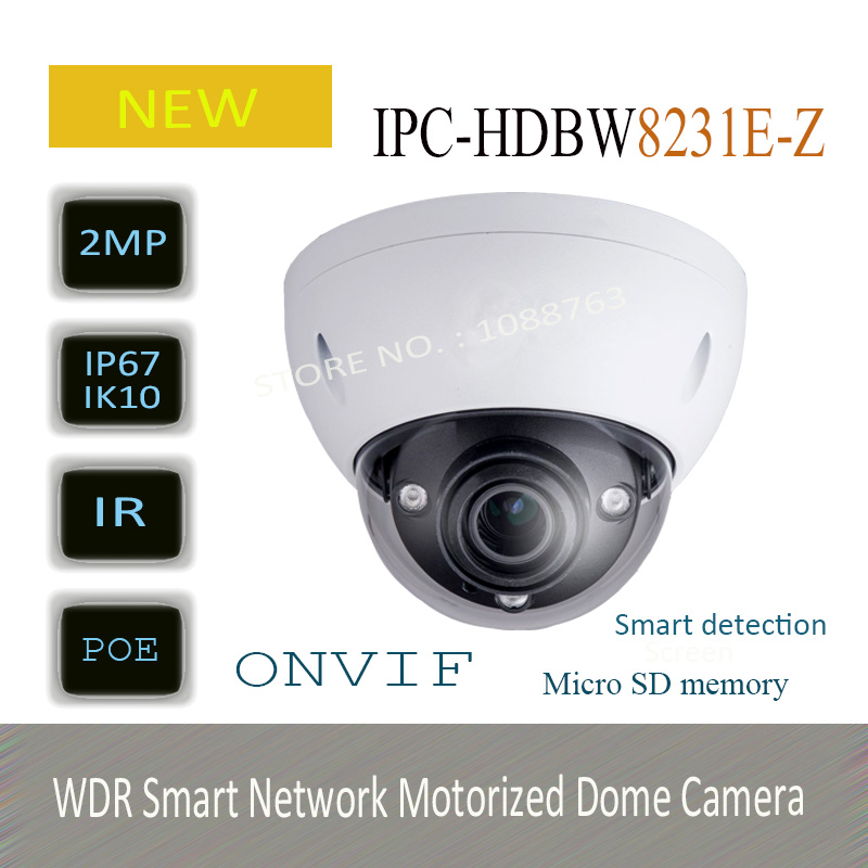 Free Shipping DAHUA Security IP Camera 2MP Full HD WDR Smart Network Motorized Dome Camera without Logo IPC-HDBW8231E-Z free shipping dahua security ip camera 2mp full hd wdr network small ir bullet camera outdoor camera without logo ipc hfw4221e