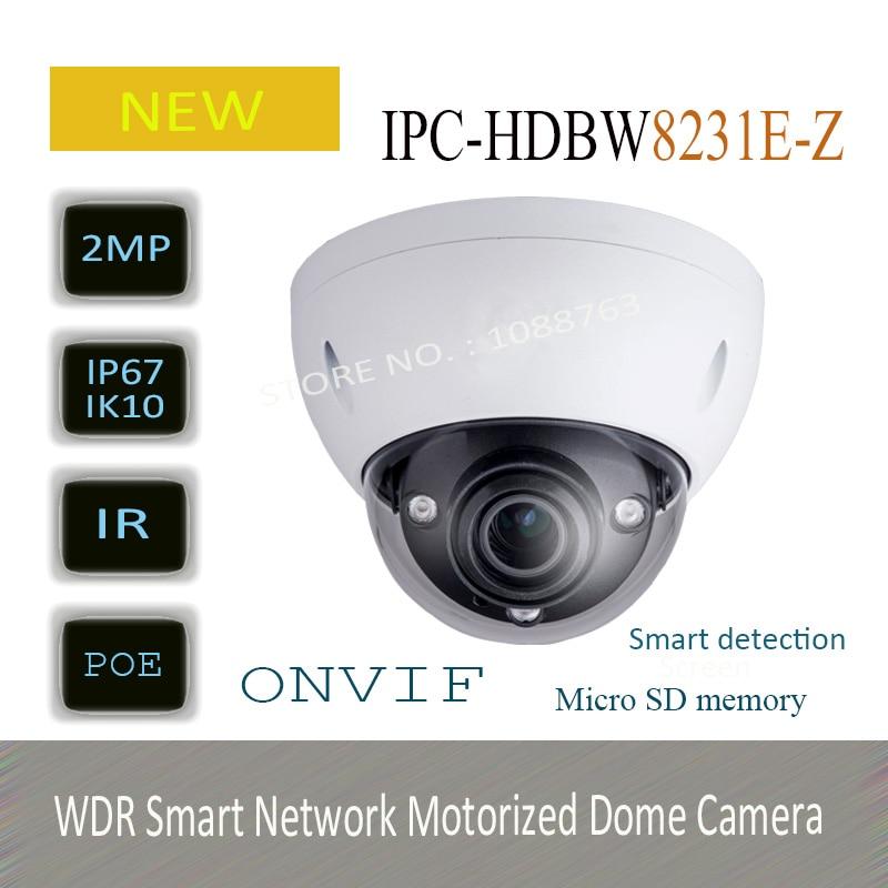 Free Shipping DAHUA Security IP Camera 2MP Full HD WDR Smart Network Motorized Dome Camera without Logo IPC-HDBW8231E-Z dahua 2 7mm 12mm motorized lens 2mp wdr ir eyeball network camera ipc hdw5231r z free dhl shipping