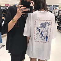 Harajuku Summer Short Sleeve T Shirt Back Print Letters Loose Couple Tee 3897