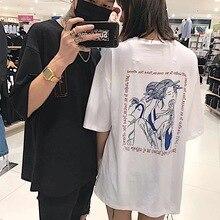 Harajuku летняя футболка с коротким рукавом Назад Печать Письма Свободные Пара Tee 3897